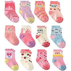 Wobon 12 Pares para Algodón Recién Nacido Infantil Niña Calcetines, Calcetines Antideslizantes para Bebé Niñas (12 pares princesa, 0-9 meses)