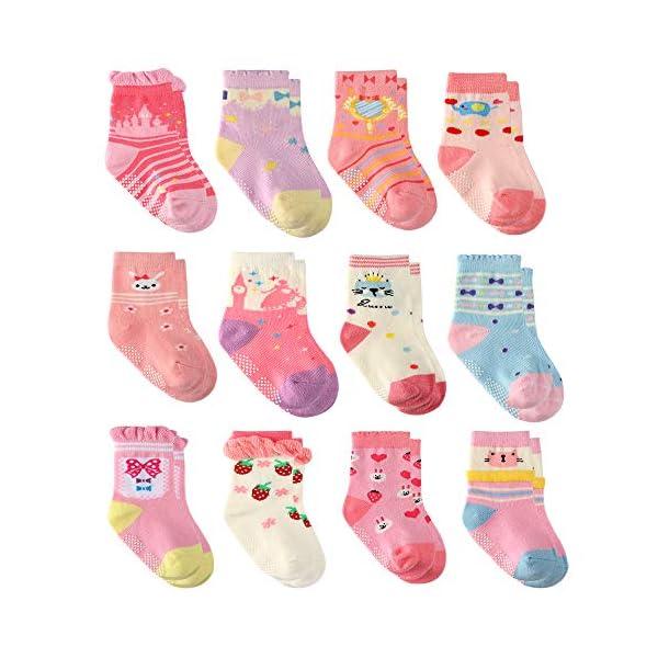 Wobon 12 Pares para Algodón Recién Nacido Infantil Niña Calcetines, Calcetines Antideslizantes para Bebé Niñas 1