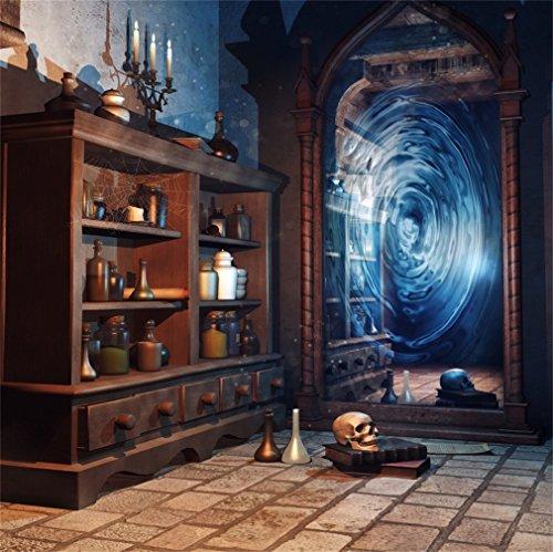 to Hintergrund Fröhliches Halloween Skull Vintage Alten Schrank Magic Mirror Marmorboden Innere Fotografie Hintergrund Fotoshooting Portrait Party Kinder Fotostudio Requisiten ()