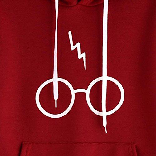 Oyedens Femmes Hoodie Sweatshirt Sweats à Capuche Sweat Femme Fille Décontracté Manche Longue Blouse Femme Printemps Sport Pullover Grande Taille Vetement Femme Pas Cher Mode Chemisier Rouge