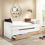 Lomadox Funktionsbett Jugendbett Gästebett weiß mit massiven Buche Schubkästen, ausziehbar auf 2 x 90x200cm Liegeflächen