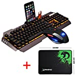 UrChoiceLtd 2016 Ajazz Battle Axe RGB LED 7 Colorful Rainbow Backlit Multimedia Ergonomic Usb Gaming Keyboard + 2400DPI Gaming Mouse For Laptop Computer (Silver/Black)