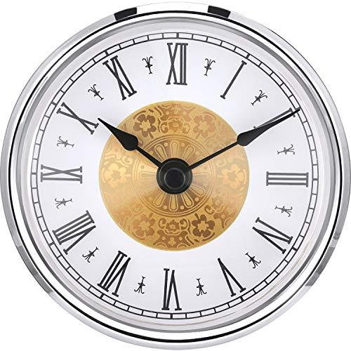 3-1/8 Pulgadas (80 mm) Inserto de Reloj con Numeral Arábigo, Movimiento de Cuarzo (Borde Plateado)
