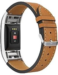Correa Fitbit Charge 2, Simpeak Banda para Fitbit Charge 2 Vendimia Cuero correa de reloj banda iwatch Cuero de la alta calidad, Marron
