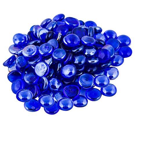ARSUK Ciottoli in vetro per acquario e decorativo scopo blu colore - 200 pezzi (circa 1 kg)