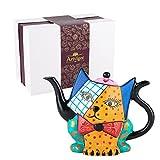 Artvigor, Porzellan Teekanne, 850 ml Kaffee Kanne, Handbemalt, Katze Figur Tischdeko, Geschenk