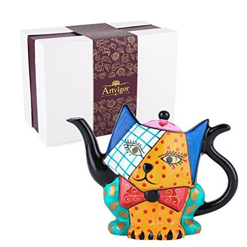 Artvigor Tetera de Café/Té de Porcelana del Diseño de Gato Pintada a Mano, Tetera de Cerámica de 800 ml, Decoración de la Mesa para Hogar, Cocina, Cafetería, Restaurante, Ragalo para cumpleaños