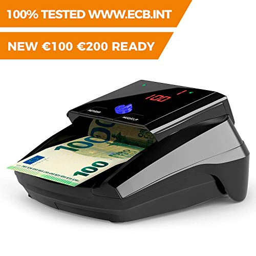 Detectalia D7 Detector de billetes falsos listo para los nuevos billetes de 100 y 200 euros. Con 100% de detección en pruebas oficiales del Banco Central Europeo