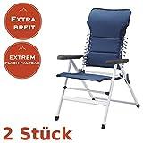 2er Set Faltbare Campingstühle mit extra breiter Sitzfläche, auch als Gartenliegestuhl nutzbar, blau
