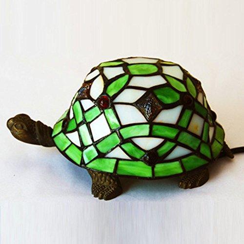 Tiffany-stil Lampe Schildkröte (WHALE Retro Tiffany-Style Schildkröte E27 Tischlampe Mit Glasmalerei Für Schlafzimmer Bedside Cafe Schreibtisch 110 V-220 V Max. 60 Watt)