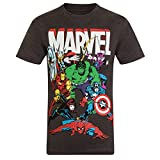 Marvel Comics - Camiseta oficial para hombre - Con personajes de los cómics - Gris marengo personajes - XL