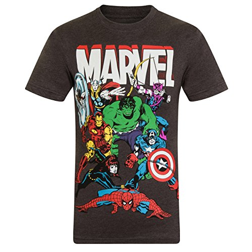 Marvel Comics - Camiseta oficial para niño - Con personajes de los cómics Hulk, Iron Man, Thor - Gris marengo personajes - 11-12 años