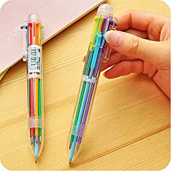 Orange Idea 6 in 1 color refill Ballpoint Pen Creative Writing Colorful Multi Ball Point Pens For Office & School Stationery (SET OF 2)
