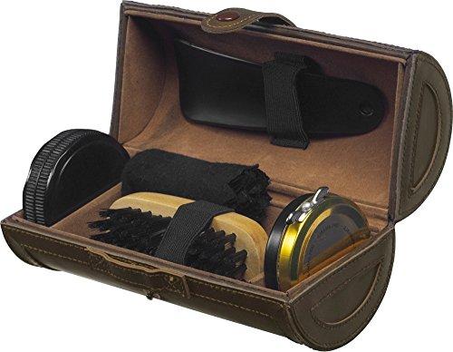 Kit polissage chaussure de luxe 5 pièces dans étui en cuir - Kit entretien de voyage