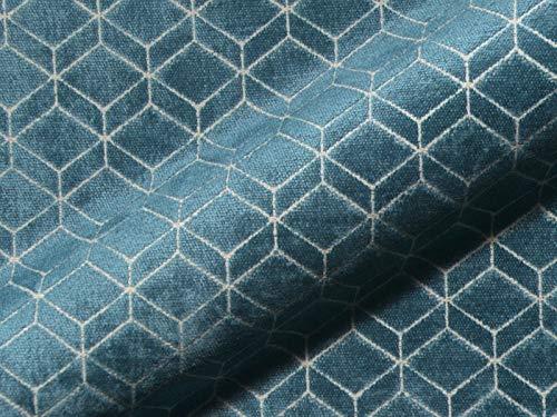 Raumausstatter.de Möbelstoff Retro 644 Muster Abstrakt blau als robuster Bezugsstoff, Polsterstoff zum Nähen und Beziehen