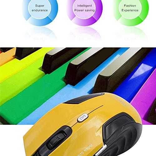 Yowablo Wireless Maus 2,4 G Optisch Mobil Ergonomisch 5 einstellbare DPI-Stufen, Tasten Drahtlose Maus (Gelb)