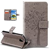 Coque Galaxy Note 3,Etui Galaxy Note 3, ikasus Coque Galaxy Note 3 Bookstyle Étui Housse en Cuir Case, Motif Gaufrage Chat papillon Fleur Floral forme arbre Motif Etui Housse Cuir PU Portefeuille Folio Flip Case Cover Wallet Coque Protection Étui avec Flex Soft Silicone TPU et Fonction Support Fermeture Aimantée Carte de crédit Logement Poches Case Coque Housse Étui pour Samsung Galaxy Note 3 - Gris