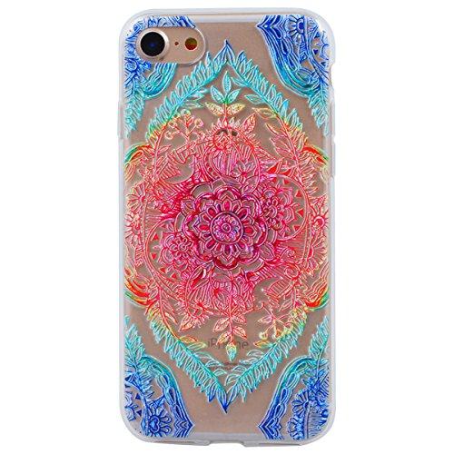 HB-Int Hülle für iPhone 7 Plus Silikon Transparent mit Bunt Mandala Muster 3D Drucken Ultra Dünn Schutzhülle Flexible Case Weich TPU Bumper Durchsichtig Handytasche Bunt Mandala
