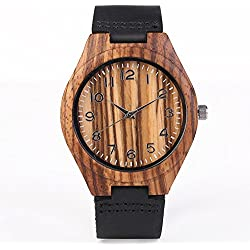 iMing Handcrafted Watches Natural Wooden Watch Leather Strap Wrist Watches Gifts