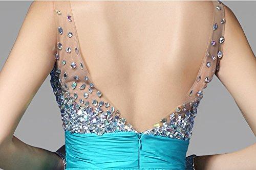 BININBOX Damen Abendkleid V-Ausschnitt mit Pailletten Ärmellose Chiffonkleid Festlich Cocktaikleid Partykleid lang Hellblau