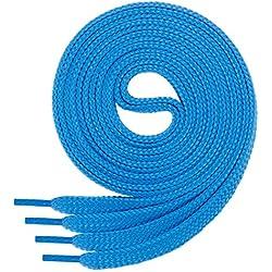 1 par de cordones Di Ficchianoplanos, de poliéster, resistentes, 60-200cm, Azul