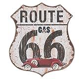 C&E Vintage Retro Dekoschild mit Spruch: Route 66, Material Holz, Maße 30 x 34 cm, Weiß Vintage mit Schwarzer Schrift