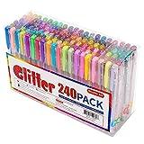 Shuttle Art, 240 penne gel Glitter. Set di 120penne gel colorate Glitter e 120ricariche, per libri da colorare, progetti artigianali, scarabocchi