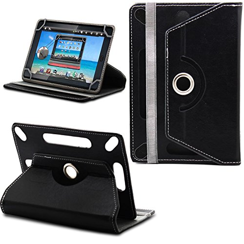 New TAN Design Universal Leather 360 degree Rotating Stand Case Cover For  Kobo Arc HD 7 Tablet PC - Plain Black ( Designer Folio Android Colourful