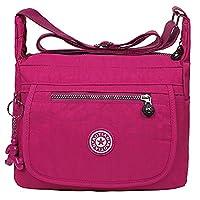 EGOGO Water Resistant Nylon Casual Handbag Shoulder Bag Messenger Cross Body Bag E303-6 (Rosy)