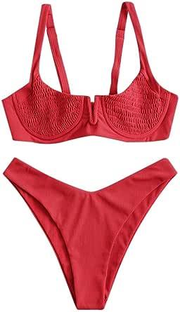 ZAFUL Costume da bagno da donna con fascia a costine, bikini a V e reggiseno push up