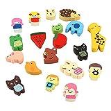 Imanes del refrigerador - TOOGOO(R) Imanes del refrigerador de colores de animales divertidos de madera linda(patron aleatorio, conjunto de 19)