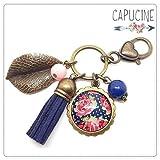 Porte clés bronze avec cabochon verre fleurs style anglais - bijou de sac fuchsia et bleu marine - Pompon suédine - Shabby Chic - Idée cadeau