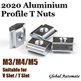 Global Automate T-Nuts M3 M4 M5 for 3D Printer Sliding T Slot T-Nut for 2020 and 2040 Series Aluminium Extrusion Profile, Car