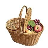 Cesto de mimbre artificial cesta de la cesta de picnic Cesta de compras de cesto doble cesta de la compra Cesta de flores para el hogar de vacaciones de la boda acampar, de color caqui