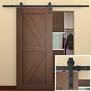 SMARTSTANDARD 8 FT Sliding Barn Door Hardware (Black) (J Shape Hangers) (1 x 8 foot Rail) by SMARTSTANDARD
