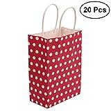 TOYMYTOY Sacchetto di regalo, sacchetti di carta Kraft con maniglia di shopping di shopping di Natale, 20pcs (rosso)