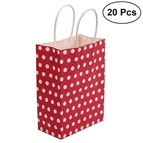 TOYMYTOY Geschenk Tasche, Kraftpapier Taschen mit Griff Weihnachten Shopping Favor Bag, 20 Stück (rot)