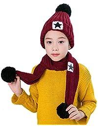 Roblue Cappello Sciarpa Bambino Chad Inverno Berretto Stella a Cinque Rami  Pompom Noel Rosso Scuro Code d7a9bfaf3fd6