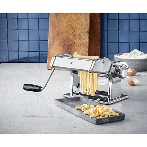 WMF Gourmet Nudelmaschine, Edelstahl, 9 Teigstufen, ideal für Teigplatten, schmale und breite Nudeln, 19,5 x 12,5 x 12,5 cm