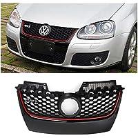 Generic NV _ 1001005328_ yc-uk203–09er Griglia w/Red Trim H Gri lucido nero/rosso per VW Golf Jetta per paraurti Hex Mesh LF je GTI MK52003lucido B