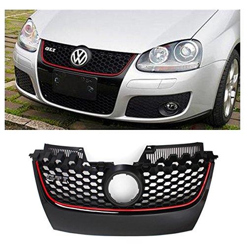 Generic NV _ 1001005328_ yc-uk203-09er Griglia w/Red Trim H Gri lucido nero/rosso per VW Golf Jetta per paraurti Hex Mesh LF je GTI MK52003lucido B