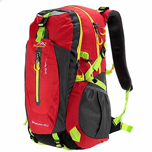 Docooler 40L Traspirante Spalla Zaino Viaggio Trekking Alpinismo Zaino Unisex Zainetto All'Aperto rosso