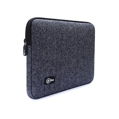 gk line Tweed Laptop Tablet Tasche 10 Zoll - 10.5 Zoll Universal Notebook MacBook Netbook Schutzhülle Hülle schwarz wasserresistent ca. 265 x 190 mm