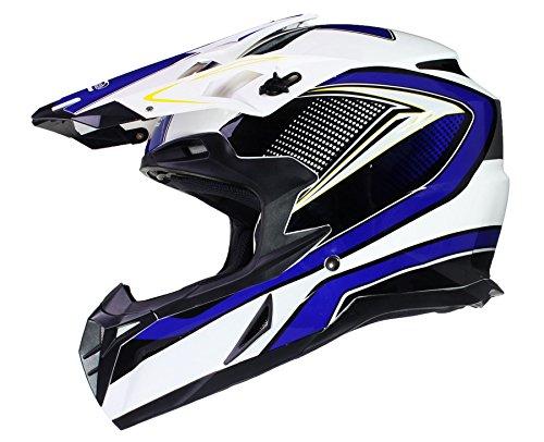 Qtech Casco Cross Motocross Enduro Moto MX ECE22-05 Enduro MX Quad Motociclo - Blu - XL (61-62cm)