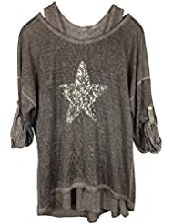 Damen Longsleeve, Two-in-One-Shirt, Stylisches Shirt mit Tank Top und Pailletten-Besatz, MADE IN ITALY