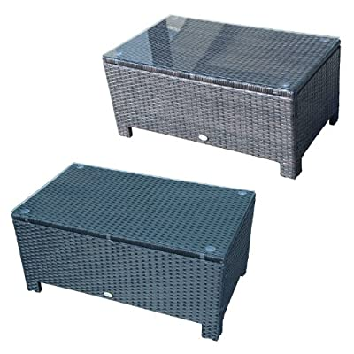 Outsunny Rattan Garden Furniture Coffee Table Patio Aluminum Frame Tempered Glass