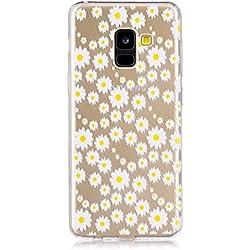 YYhin Cáscara Case para Funda Samsung Galaxy A8 Plus 2018,Carcasa Protectora de Silicona TPU #HX49/Margarita Blanca