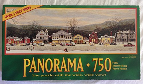 Norman Rockwell Panorama 750 Piece Puzzle - Stockbridge Main Street At Christmas - Over 3 Feet Wide by Hasbro