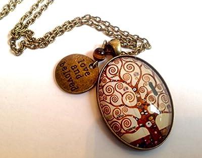 Sautoir cabochon ovale verre vintage bronze, l'arbre de vie de Klimt, perle œil de tigre, médaille