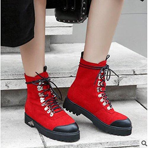 tonda donna HSXZ di tallone Chunky Scarpe Nero punta Autunno punta Red di Inverno abbigliamento marrone stivaletti Babbucce casual maiale Comfort chiusa stivali da chiaro Rosso qp7Exwrtp